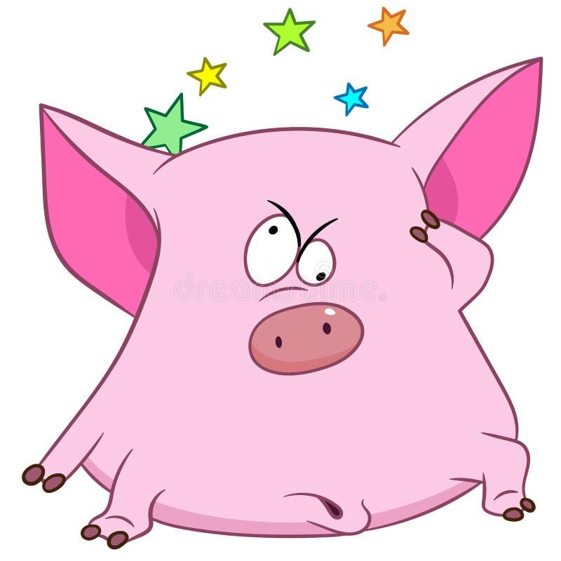 Cartoon pig feeling dizzy stock photography