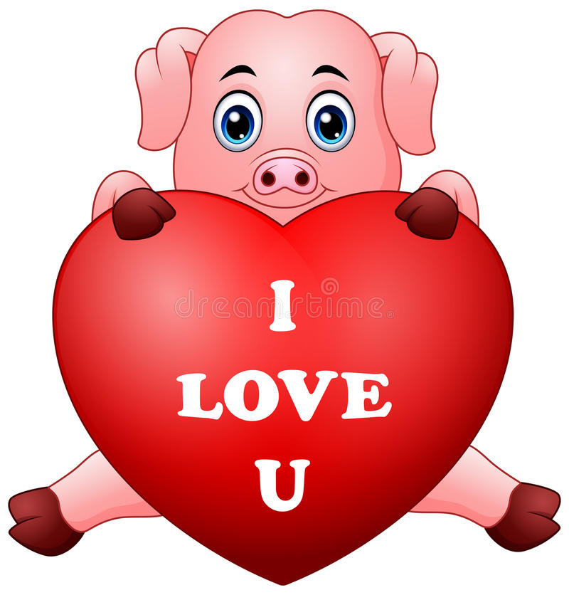 Download Cartoon Pig Holding Red Heart Stock Vector