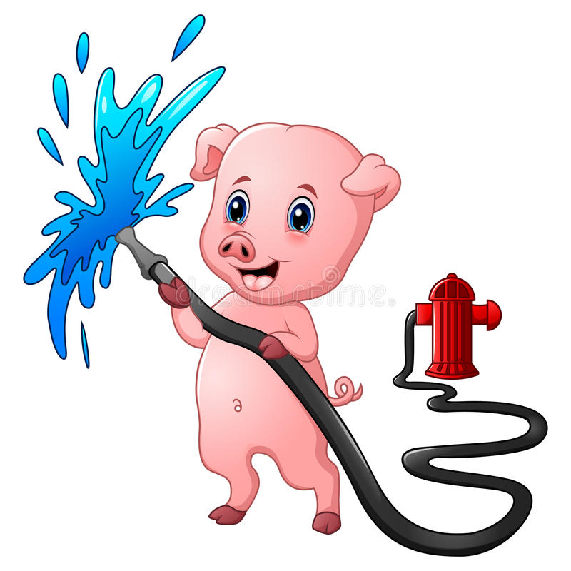 Cartoon pig with hose spraying water and fire hydrant. Illustration of Cartoon pig with hose spraying water and fire hydrant stock illustration