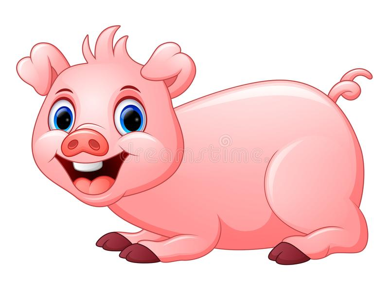 Cartoon pig lay down. Il;lustration of cartoon pig lay down vector illustration