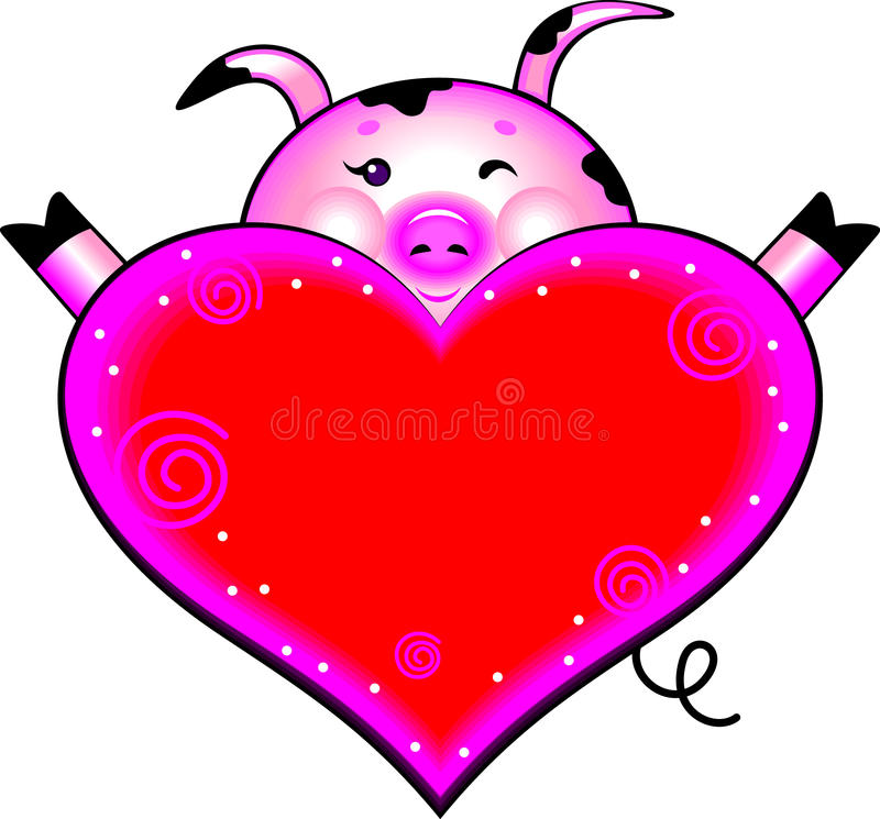Download Cartoon Pig With Love Heart Stock Illustration