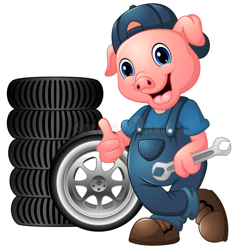 Cartoon pig mechanic with car tire giving a thumbs up and holding a spanner stock illustration