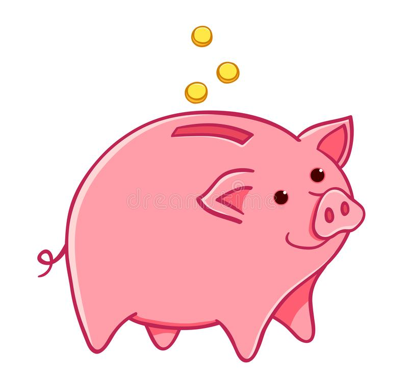 Cartoon pig moneybox royalty free stock images