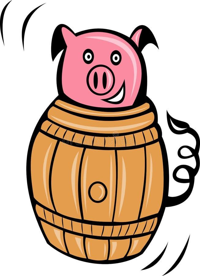 Download Cartoon pig pork barrel stock illustration. Image of inside - 15938852