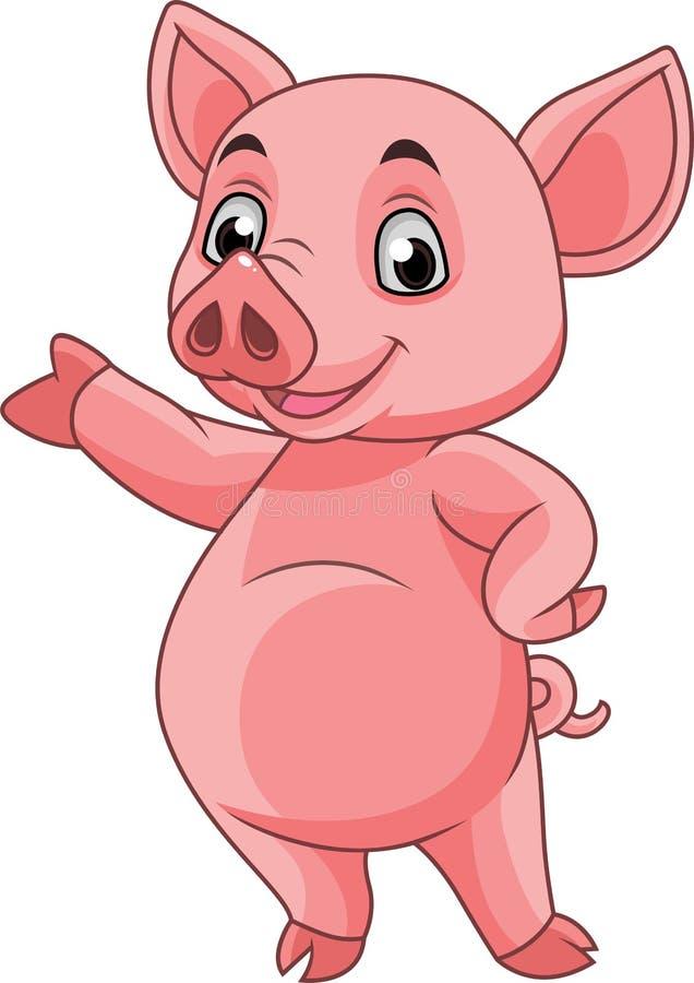 Cartoon pig posing. Illustration of Cartoon pig posing stock illustration