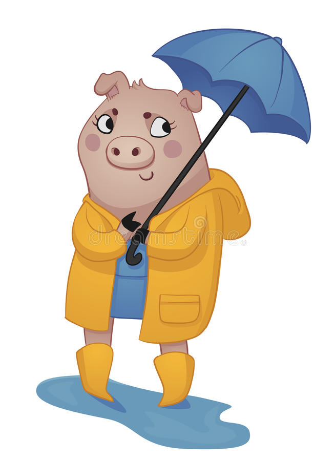 Download Cartoon Pig in Rain Gear stock vector. Illustration of adorable - 33281458