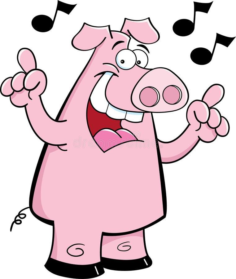 Cartoon pig singing