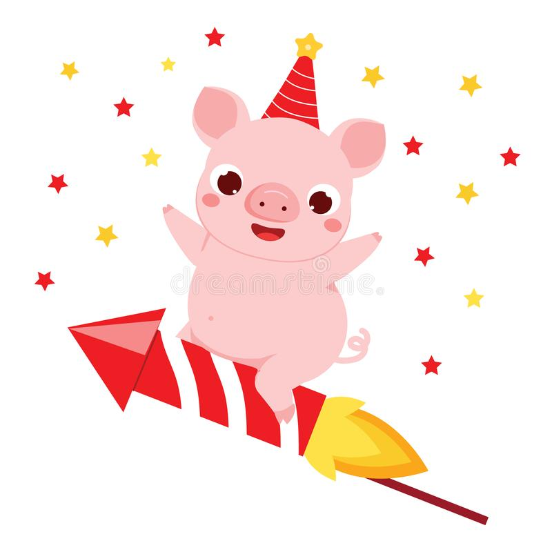 Cartoon pig, symbol of chinese 2019 new year flying on firework rocket. vector illustration for calendars and greetings cards stock illustration