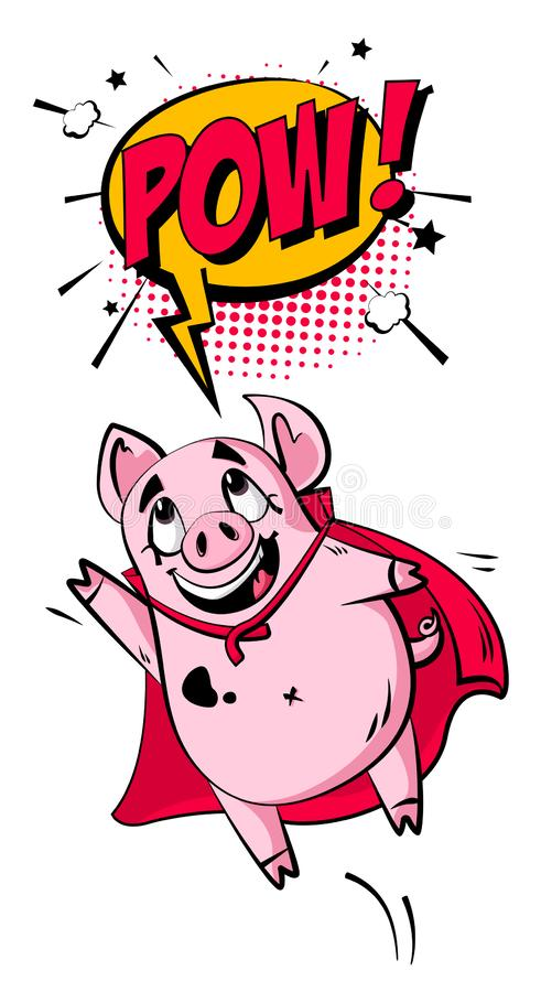 Cartoon pig and text cloud on white background. Greeting card in comics style. Vector.  vector illustration