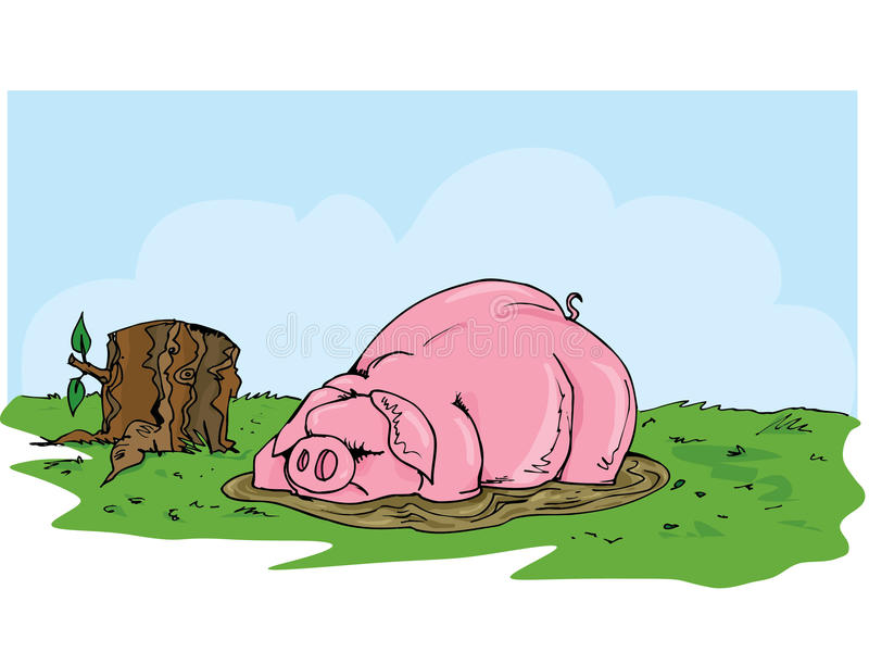 Cartoon Pig Wallowing In The Mud Royalty Free Stock Photos