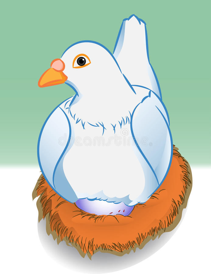 Download Cartoon Pigeon With Egg In Nest - Vector Illustration Stock Vector - Image: 83709005