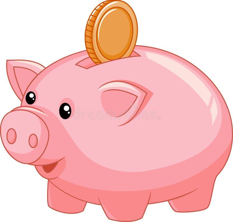 Cartoon Piggy Bank With Coin Stock Vector - Illustration ...