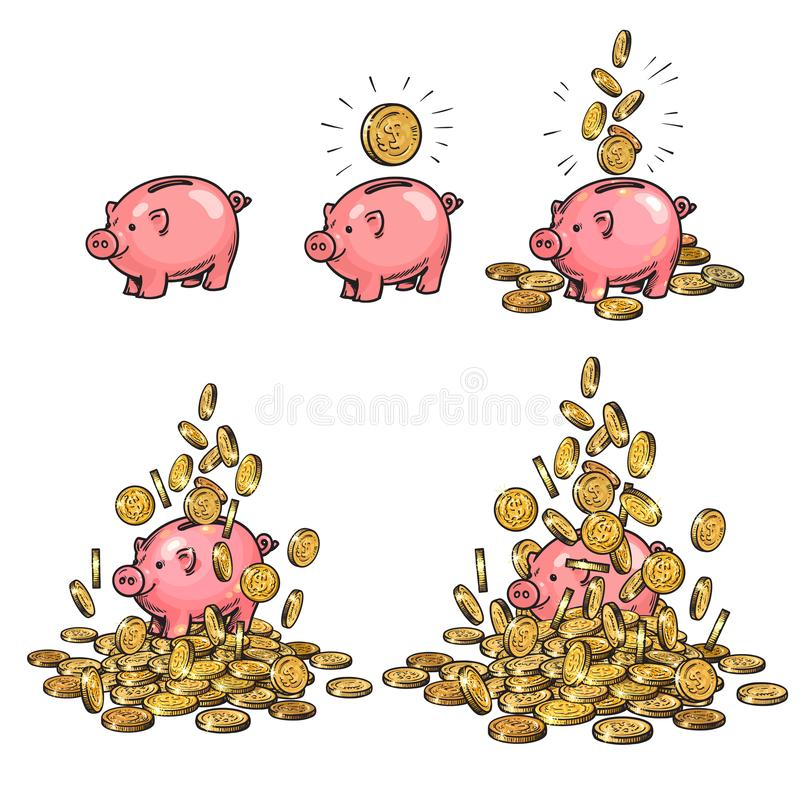 Cartoon piggy bank and gold coins set. Piggy with one coin, with falling cash, heaped over money. Growing wealth and stock illustration