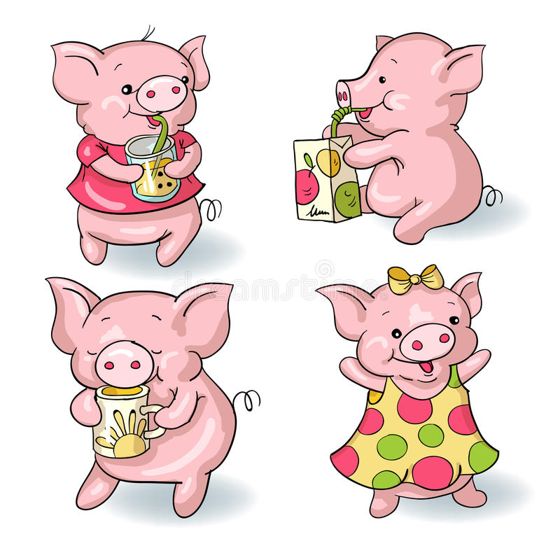 Cartoon pigs vector illustration