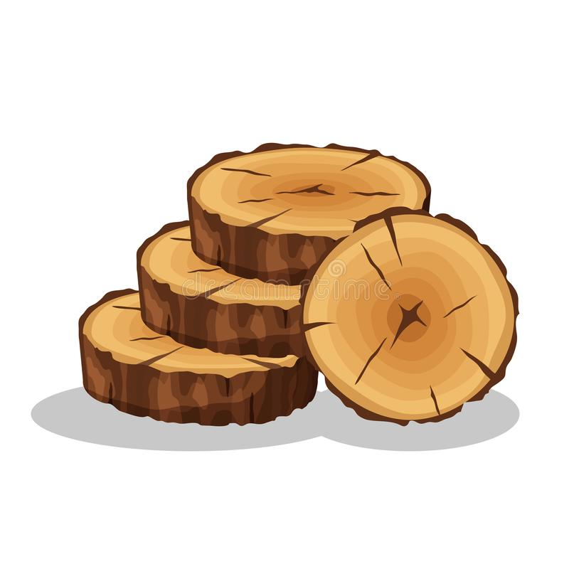 Cartoon pile of tree rings isolated on white background. Wooden log cross sections with splits and cracks vector stock illustration