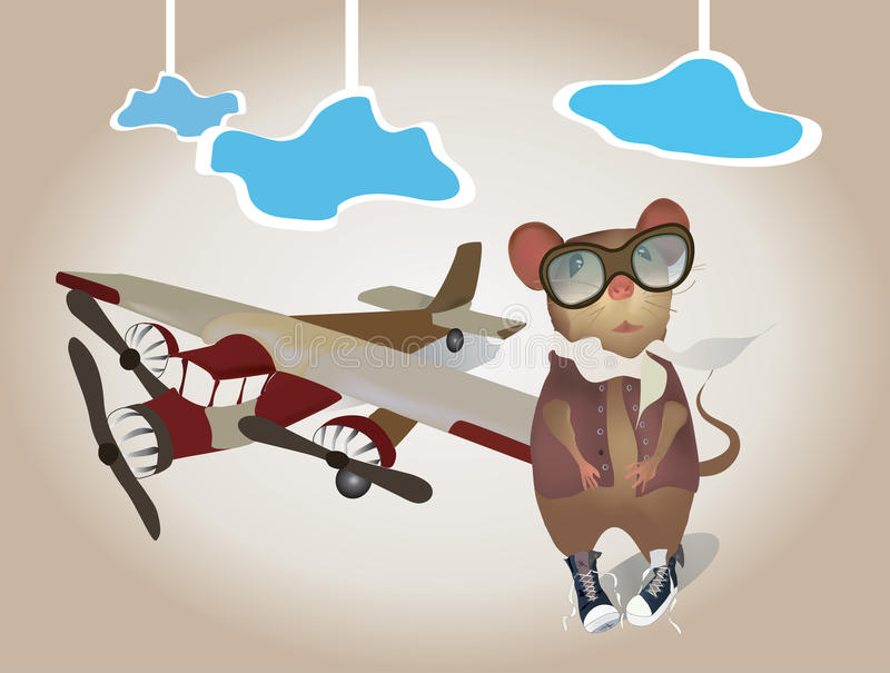Cartoon Pilot Mouse in uniform with Plane. Vector of a Pilot with Airplane stock illustration