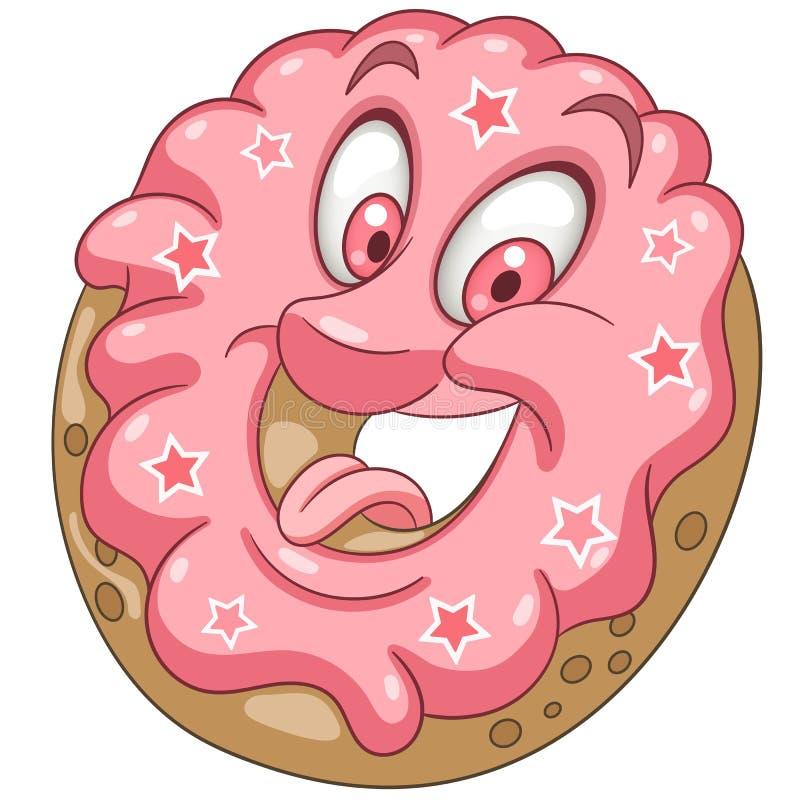 Cartoon Pink Donut royalty free stock photo