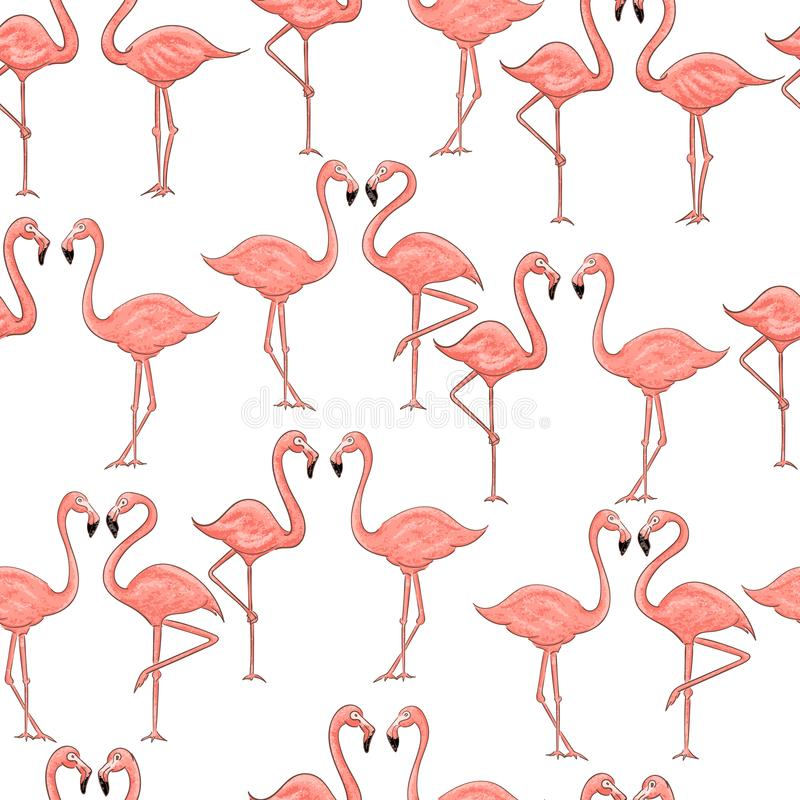 Cartoon pink flamingo seamless pattern on white background stock illustration