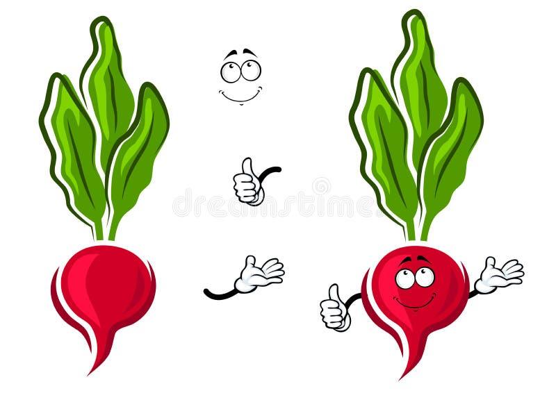 Cartoon pink radish vegetable character vector illustration