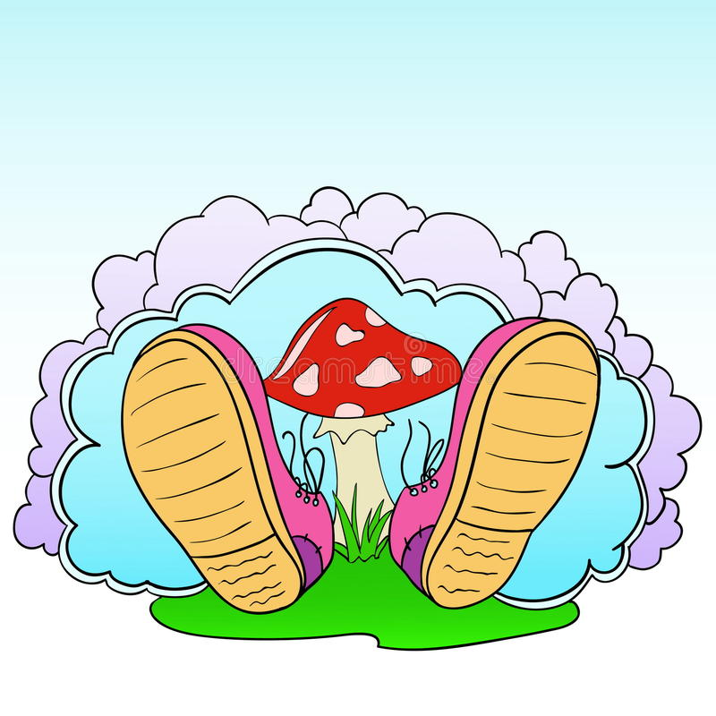 Cartoon pink shoes with poison mushroom