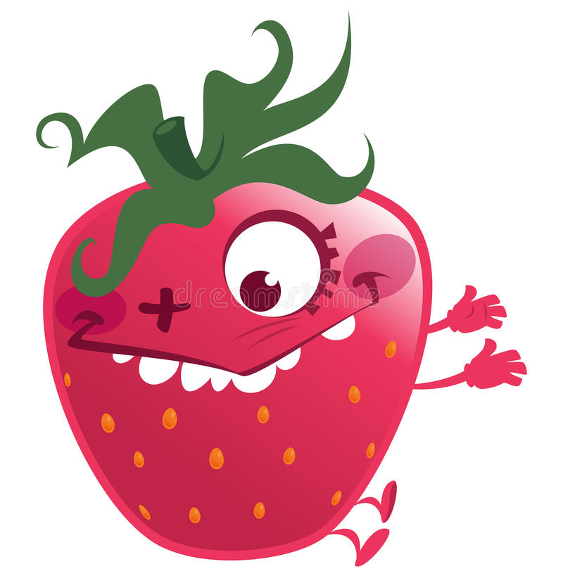 Cartoon pink strawberry fruit character making a crazy face vector illustration