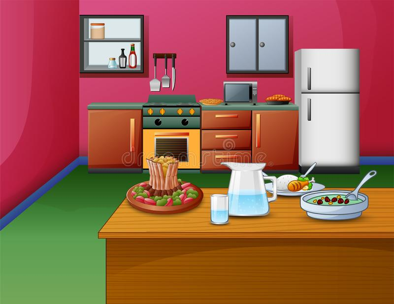 Cartoon pink style kitchen interior with wooden table and food vector illustration