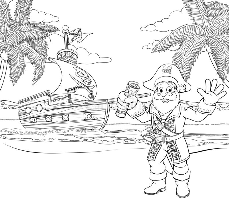 Cartoon Pirate on Beach Coloring Page royalty free illustration