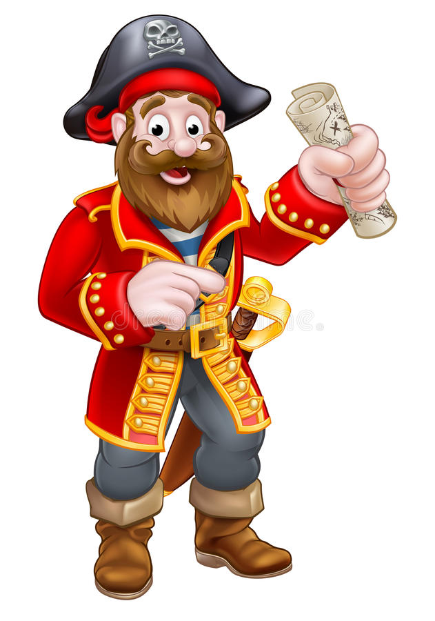 Cartoon Pirate Captain. Pirate cartoon character captain pointing holding a treasure map royalty free illustration