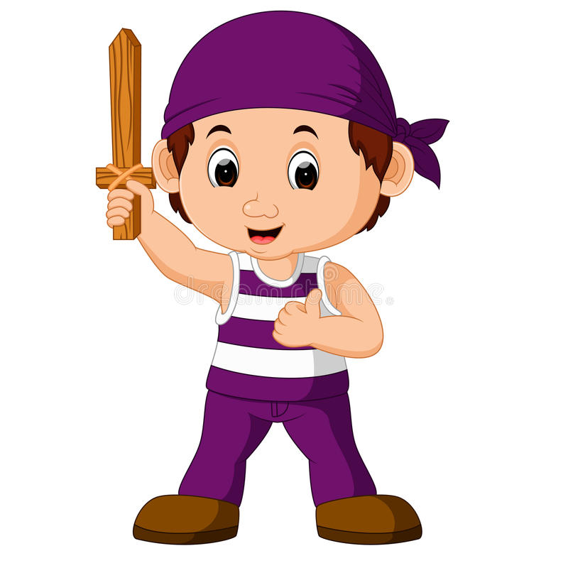 Cartoon pirate holding a sword royalty free illustration