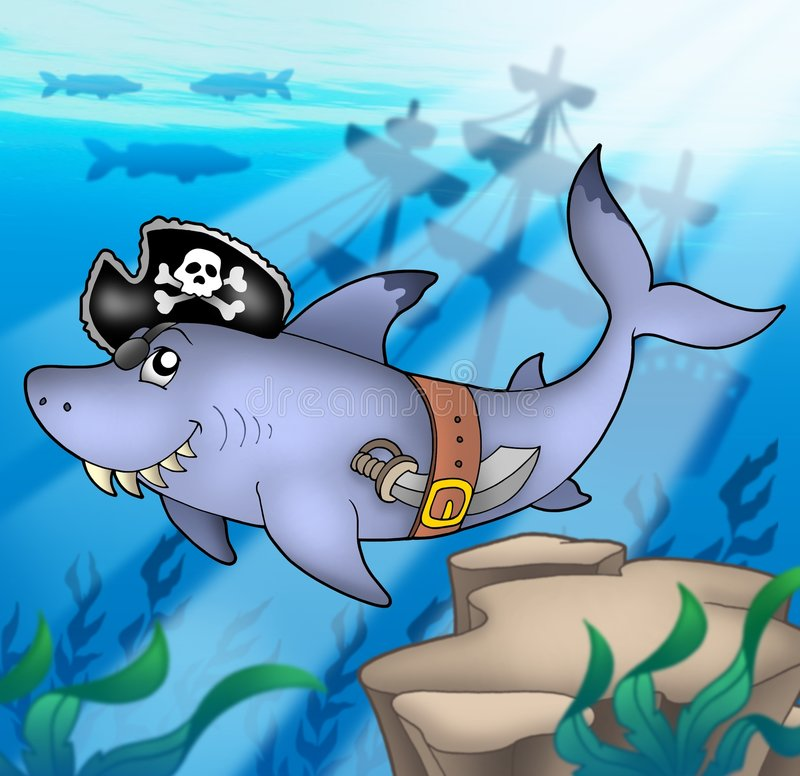 Cartoon pirate shark with shipwreck stock illustration