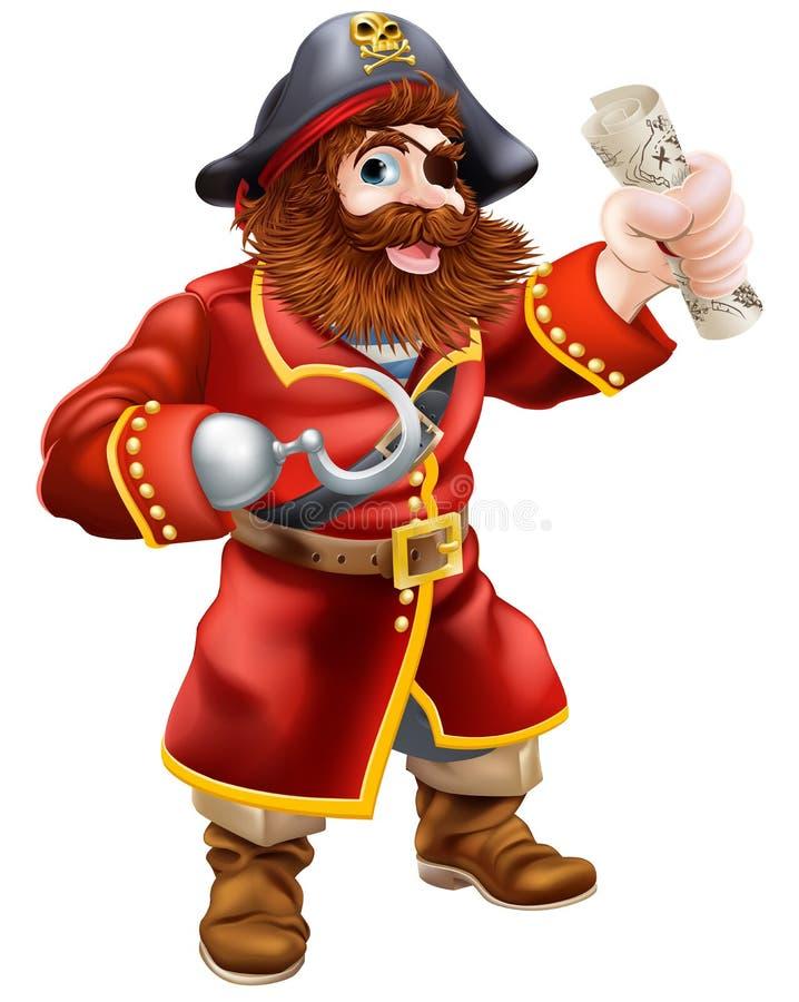Cartoon pirate with treasure map stock illustration