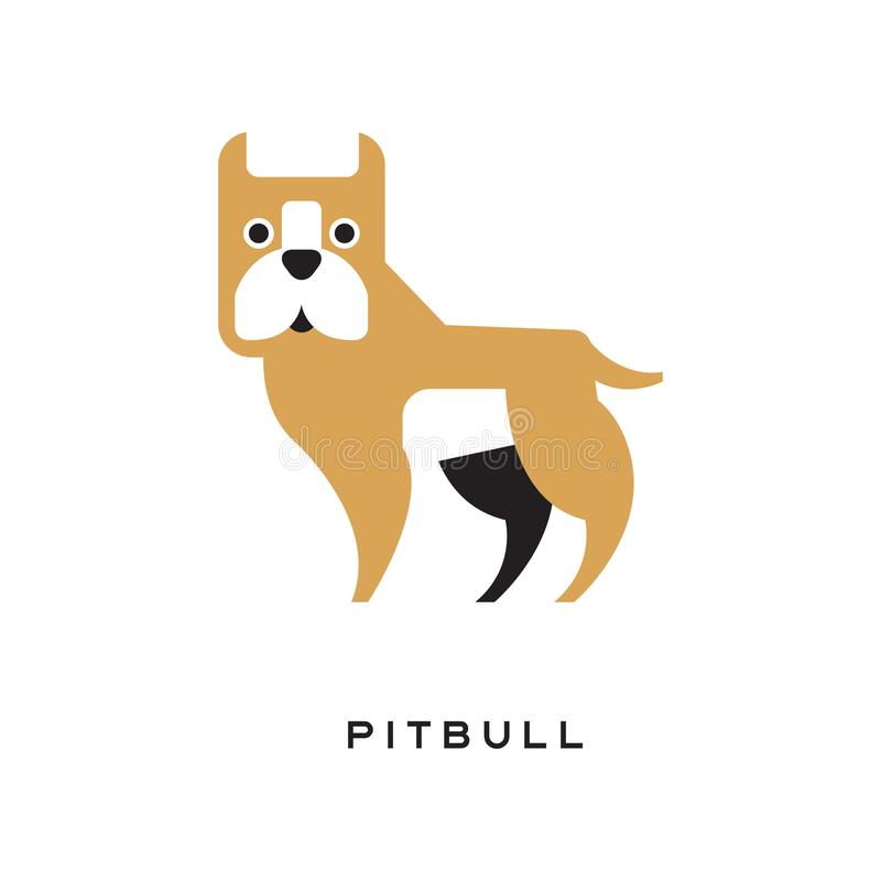 Cartoon pitbull character isolated on white. Brown medium-sized, solidly-built, intelligent, short-haired dog. Human s best friend. Flat element for pet shop vector illustration