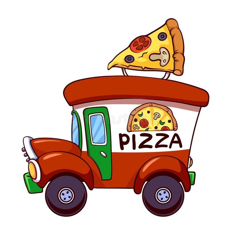 Cartoon pizza car vector illustration