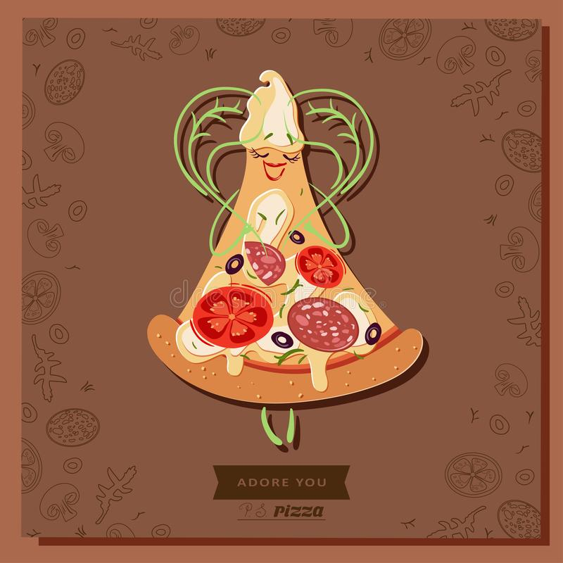 Cartoon pizza character slice with basil leaves in the shape of a heart royalty free illustration