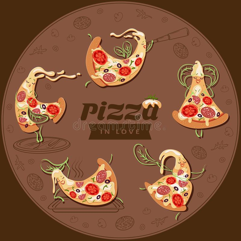 Cartoon pizza characters slices. Set of five cute lovers pizzas. stock illustration