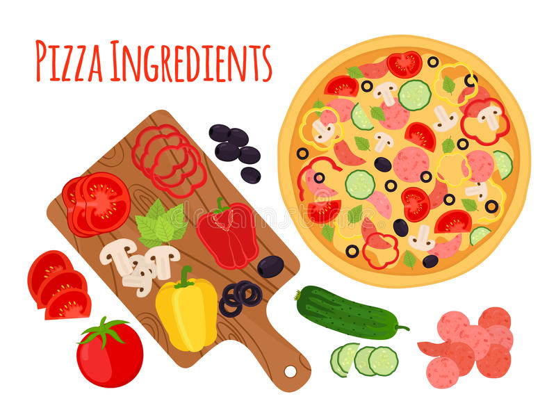 Cartoon pizza ingredients, cutting board and vegetables. Cartoon stock illustration