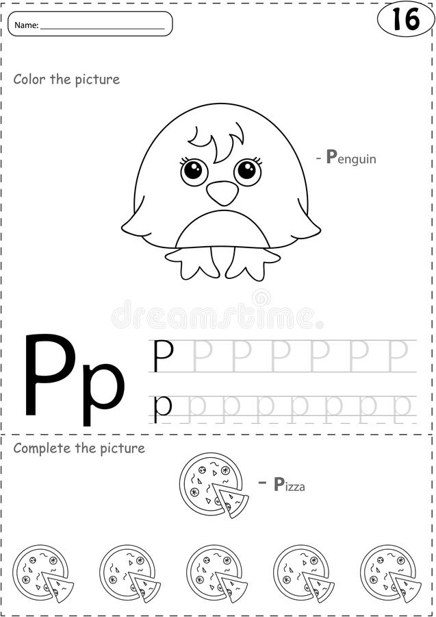 Cartoon pizza and penguin. Alphabet tracing worksheet: writing A. Z, coloring book and educational game for kids stock illustration