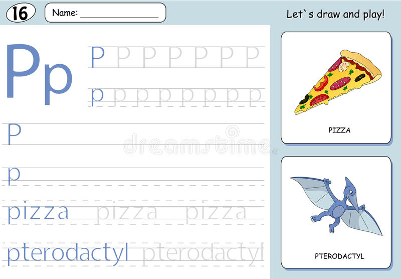Cartoon pizza and pterodactyl. Alphabet tracing worksheet. Writing A-Z, coloring book and educational game for kids vector illustration
