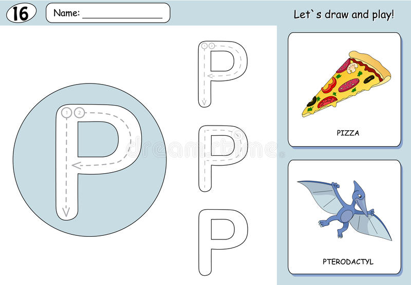 Cartoon pizza and pterodactyl. Alphabet tracing worksheet. Writing A-Z, coloring book and educational game for kids stock illustration
