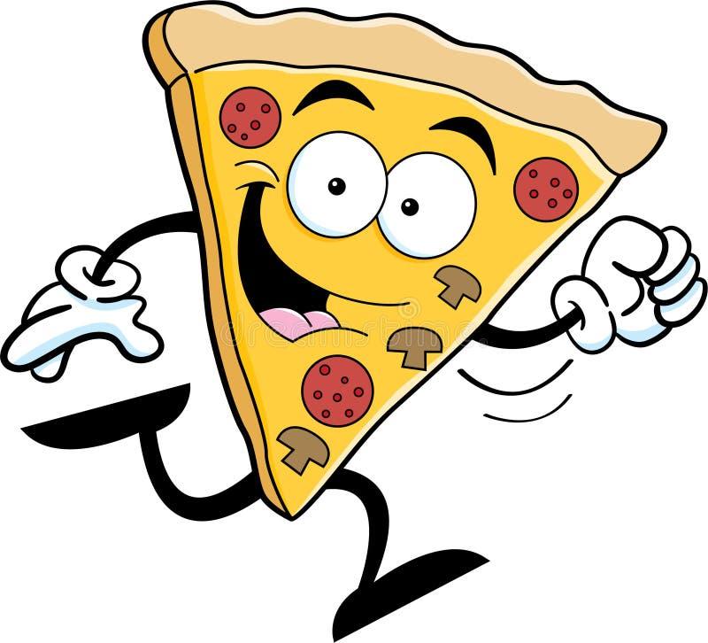 Cartoon pizza running. Cartoon illustration of a slice of pizza running stock illustration