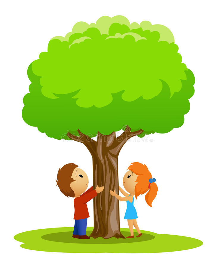 Cartoon place with boy and girl touched tree vector illustration