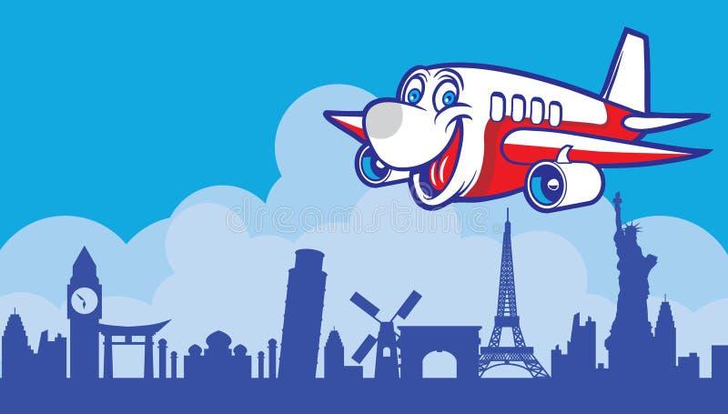 Cartoon plane. Flying around the world landmark royalty free illustration