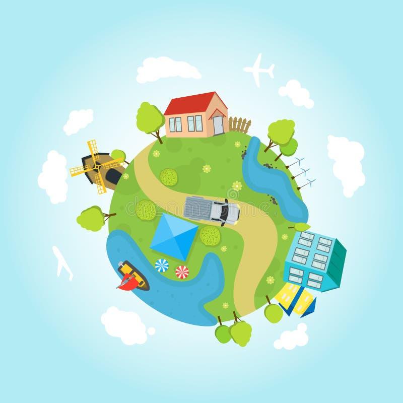 Cartoon Planet Earth with Houses, Ocean, Roads. Vector vector illustration