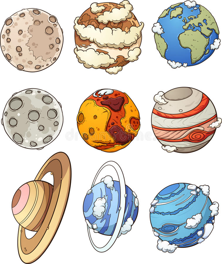 Cartoon planets. And Earth`s moon. Vector clip art illustration with simple gradients. Each in a separate layer vector illustration