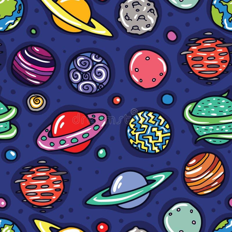 Cartoon planets seamless pattern royalty free illustration