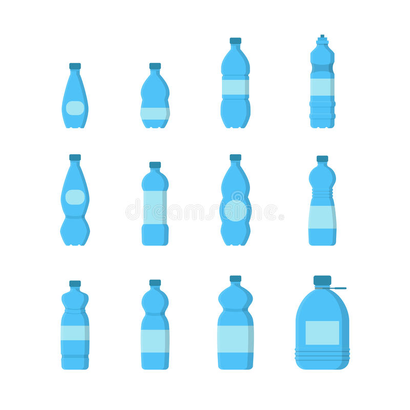 Cartoon Plastic Blue Bottles for Water Set. Vector vector illustration