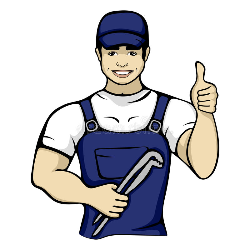 Cartoon plumber holding a monkey wrench. Isolated vector illustration of a worker service handyman character person in a blue cap vector illustration