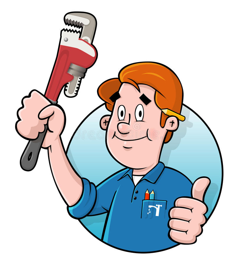 Cartoon plumber logo. Cartoon plumber holding a plumbers wrench Comes in an easy edit layered illustrator CS file royalty free illustration