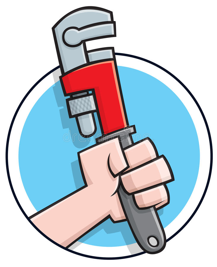 Cartoon plumbers wrench logo stock illustration