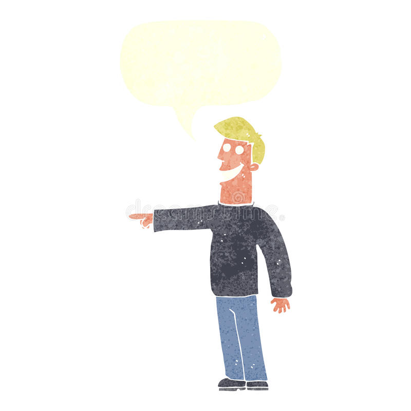 Cartoon pointing man with speech bubble stock illustration